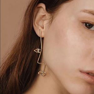 Jewelry - Chic Gold Asymmetric Abstract Drop Earrings